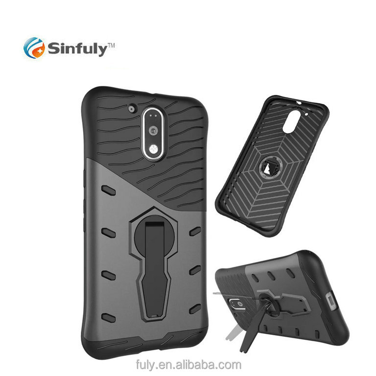 TPU PC Hybrid Heavy Dulty Case with 360 Rotation Kick stand for Motorola MOTO G4 Plus G4 Mobile Back Cover
