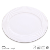 White Color Emboss Oval Plate With Vertical Stripe Decoration