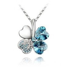 Free Shipping Lucky Clover Crystal Necklace