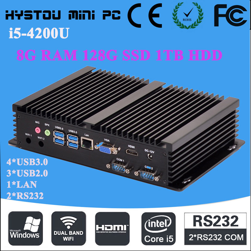 industrial products price list 2RS232 Intel Core i5 4200U 8G RAM 128G SSD 1TB HDD mini computer