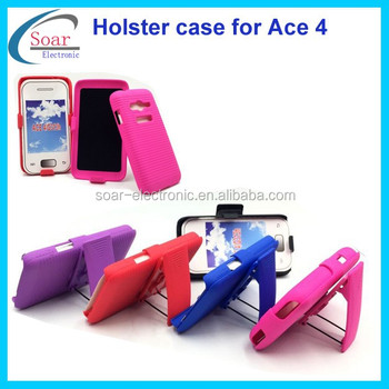 Colorful kickstand holster belt clip combo case for Samsung galaxy Ace 4 G313H