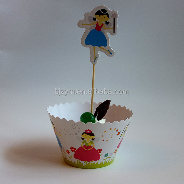 Cartoon girl printing paper decoration bakeware Cupcake Wrapper Cup Cake Topper