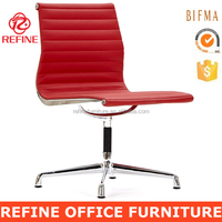 low back red leather modern office swivel chairs no wheels no arms RF-S072M