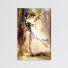 Modern Couple Abstract Nude Dance Canvas Art Oil Painting