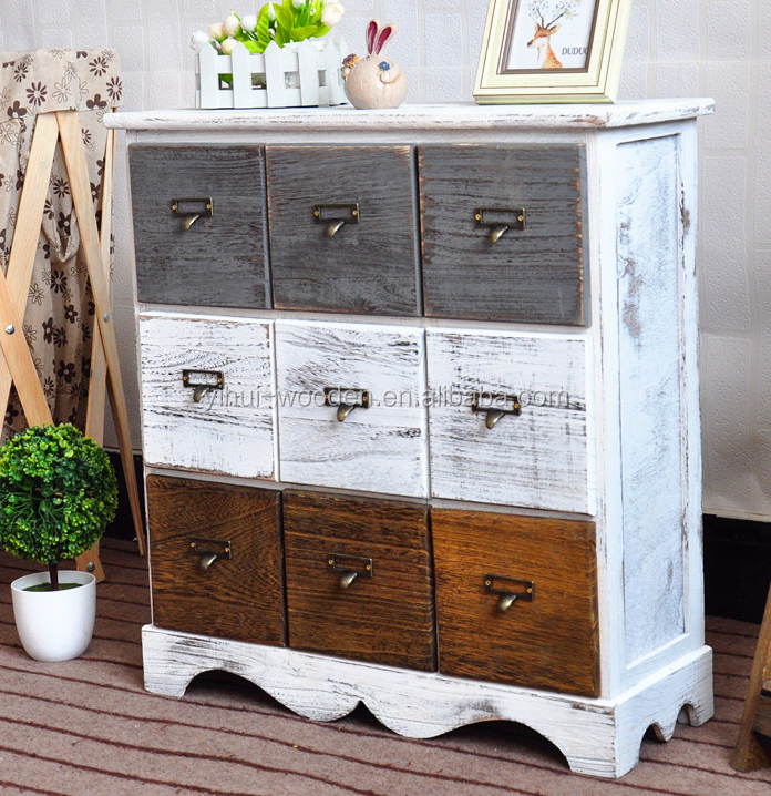 Shabby chic chest of 6 drawer vintage antique french style wood cabinet