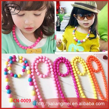 new children's color bead necklace girl children's color bead necklace wholesale jewelry