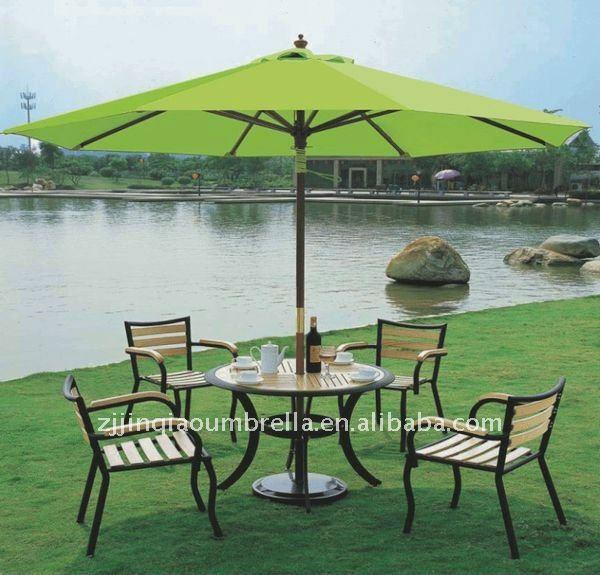 Mesa de madera paraguas al aire libre parasol conjuntos de for Comedor de jardin con sombrilla