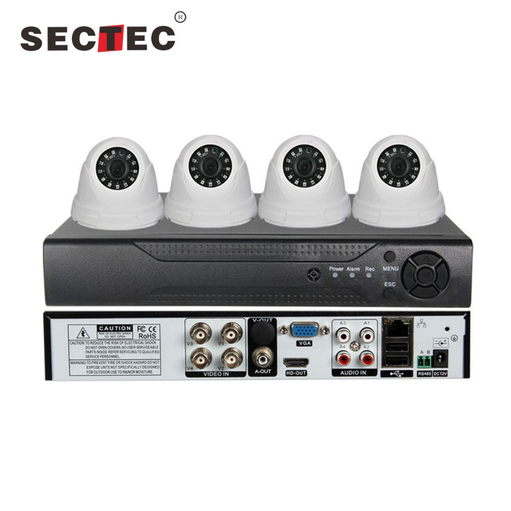 Sectec 30FPS 1080P HD 4 in 1 Camera 1080N 5 in 1 DVR 4CH CCTV DVR Kit