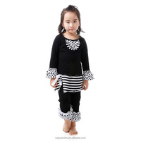 Wholesale 2 pieces black dots ruffle long sleeve baby clothes set fancy fall boutique girl clothing
