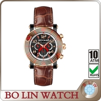 rose gold case second small men quartz watch leather band