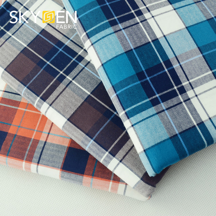 Lowest price wholesale stock lot shirting dress cloth clothing material textile 100% cotton herringbone fabric for men's shirt