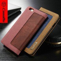 2016 fashion style wallet jean + PU leather case for iphone 6,for iphone 6 flip cover mobile phone cover