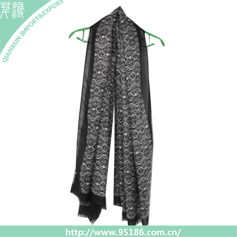 SC-120202 Qianxun wholesale black twill hijabs scarves islamic georgette abaya scarves shawls easy to wear and style scarf