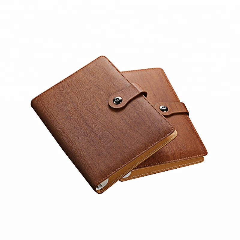High quality organizer notebook with Wood grain leather, notebook with Magnetic buckle,note <strong>book</strong> for business