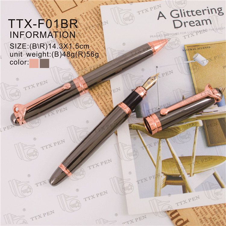 New design gift roller ball pen for wedding metal pen rose gold plating