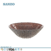 Sanzo Custom Wholesale Graved /Frosted Blue Nice Flower Clored Decorative Glass Bowl