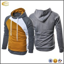 Ecoach 2017 men custom logo long sleeve patchwork hoodies cotton polyester thick slim fit sweatshirt with hood