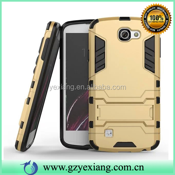 Hot Selling Gold Hybrid TPU PC Kickstand Case For LG Zone Back Cover