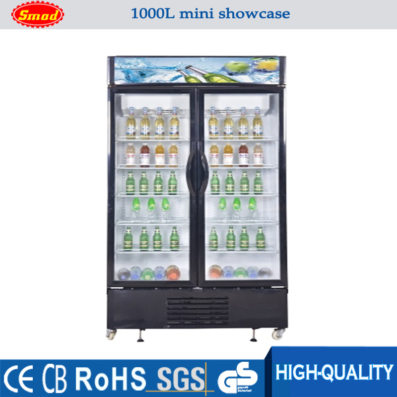 1000L commercial glass door upright display refrigerator showcase