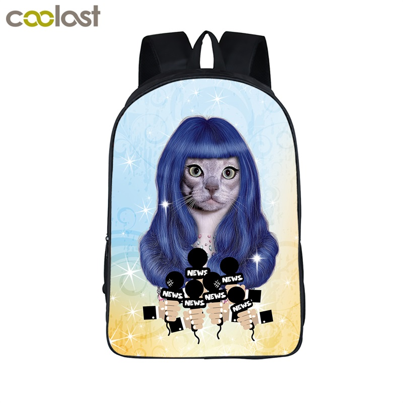 2017 New COOLOST 16'' Polyester Cute Cartoon Dog and Cat Star Child School BagS Vintage Custom Travel Backpacks Wholesale