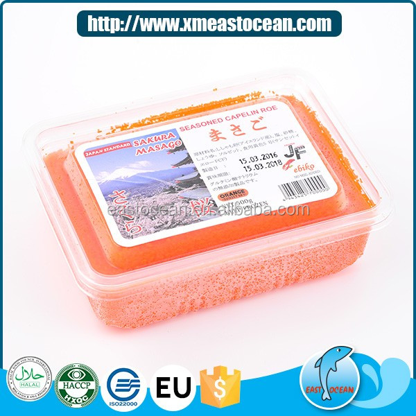 Factory price choice healthy frozen seasoned capelin roe for sushi