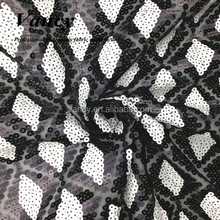 cheap factory black white sequence design embroidery lace fabric for events decoration and party girl gown dress