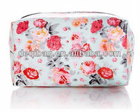 Canvas coated rose flower printing colorized zipper fashion cosmetic bag
