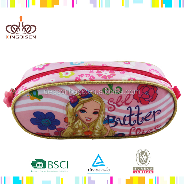 2015 Top quality popular cartoon PVC pencil case for girls