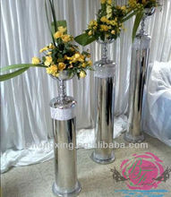 2016 new design tall silver metal vases wedding flowers and pillars for weddings