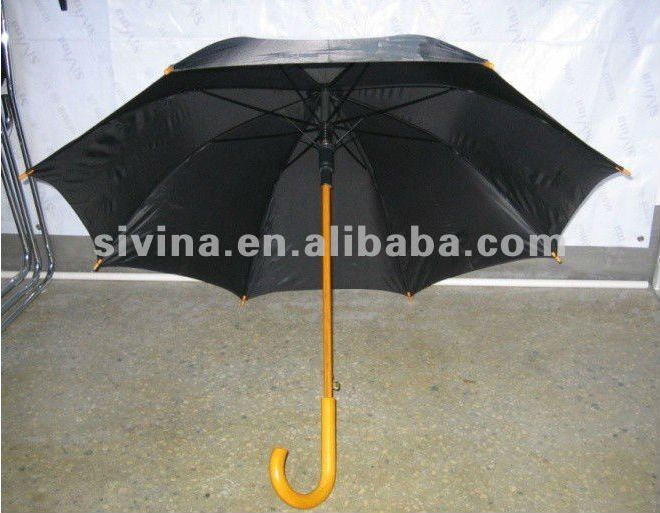23 Inch 8 Ribs Auto Open Popular Custom Wooden Hook Handle Men Umbrella Vintage Golf Umbrella