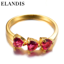 E-ELANDIS 2015 new female ring indian wedding ring designs heart-shaped rubies gold-plated ring