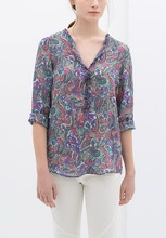 WOMEN'S PRINTED BLOUSE WITH FRILL