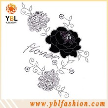 rose design rhinestones hotfix transfer for women garment