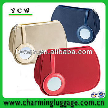 microfiber brush cosmetic pouch with mirror
