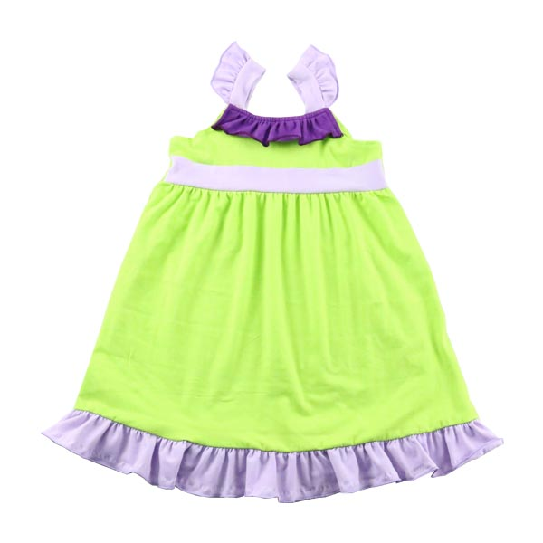 wholesale 2017 best selling girl colorful cotton tunic ruffle cute tunic dress