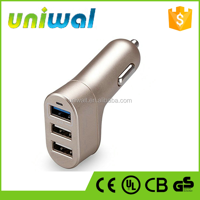 factory price 3 ports usb car charger, 5v 5.1a output usb car adapter for android smartphones, tablets & iphones