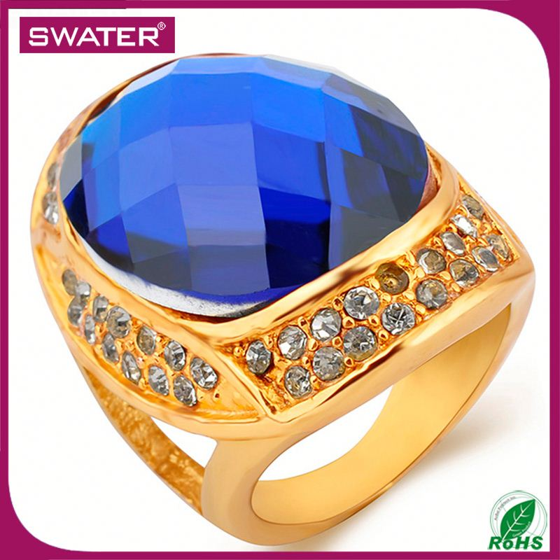 Manufacturer China Gold Blue Zircon Movable Ring
