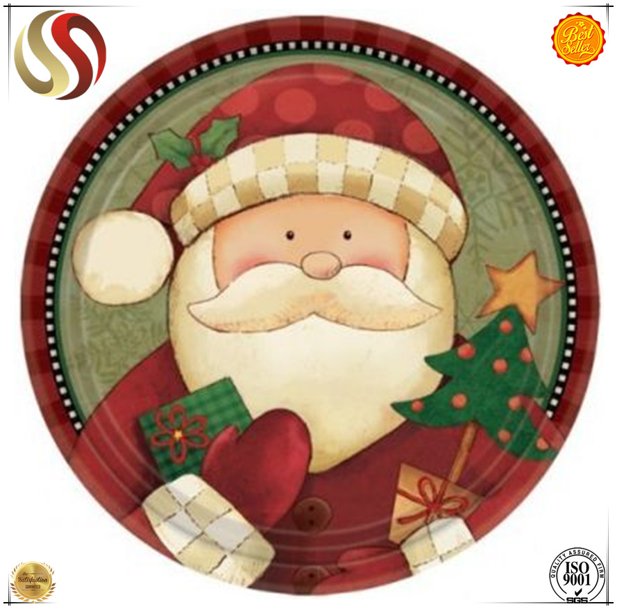 2017 hot sale new arrivals custom printed disposable party dinner plate/Christmas paper platesbuy direct from china factory