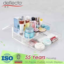 Clear Acrylic Cosmetic Organizer with 2 Drawers Display Storage Box for Jewelry,Beauty Products