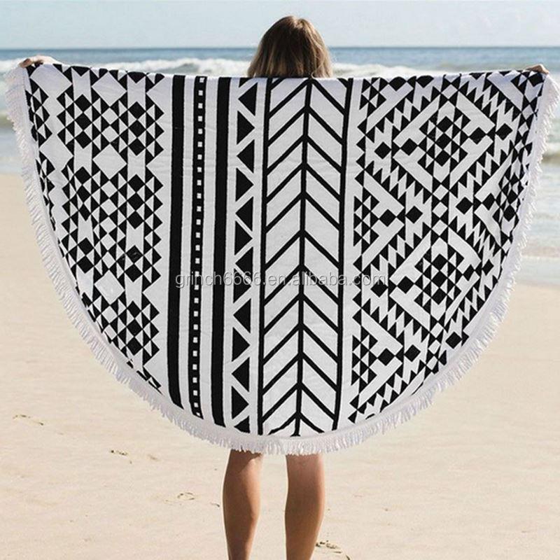 29 styles boh me microfibre imprim serviette de plage ronde avec glands dame toallas serviettes. Black Bedroom Furniture Sets. Home Design Ideas