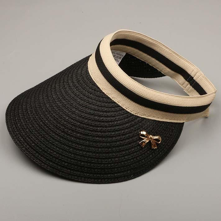 NEW LADIES BLACK STRAW CAP