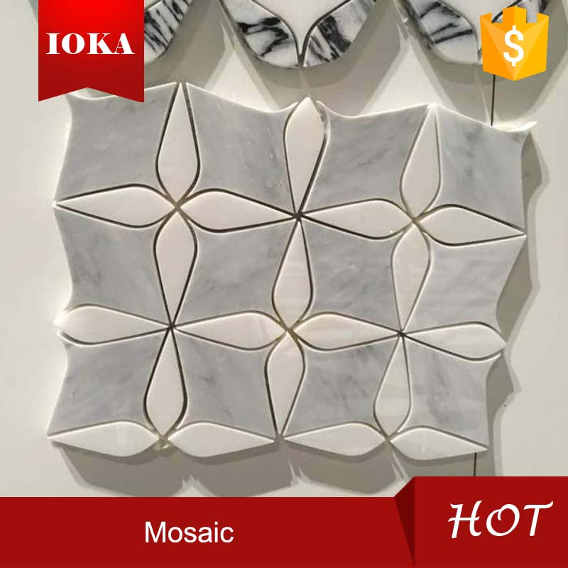 Black Grey White Marble Flower Mosaic Tiles
