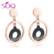 Rose Gold Black Double Round Plate Drop happy back earring backs