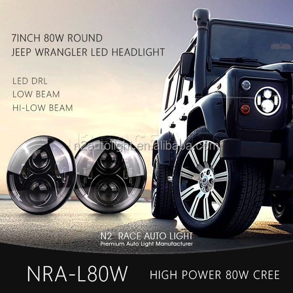 Motorcycle 80W 7 inch Round LED Headlight DOT Black Angel Eye Projector Headlights