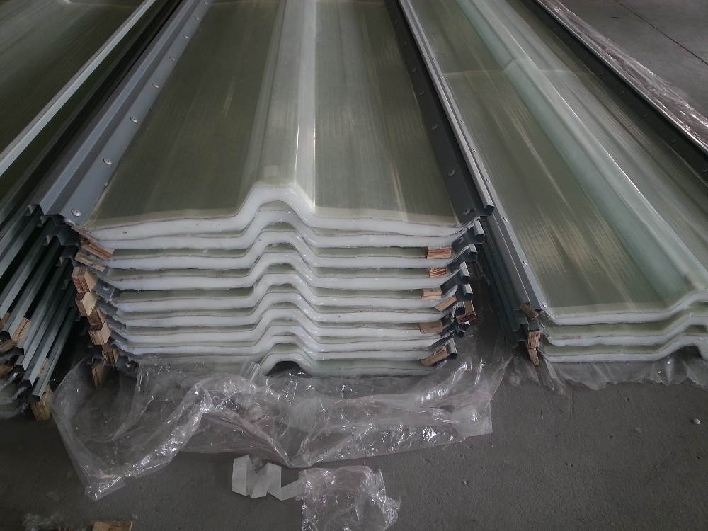 double skin hollow core transparent sinusoidal roofing sheet FRP corrugated sheet