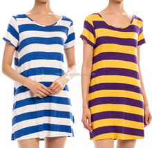 Stripe Pattern Print Game Day short sleeve Tunic Dress fashion summer wholesale Tunic Dress