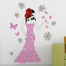 Korea Beautiful Girls Wall 3D Sticker Wholesale PVC Vinyl Removable Wall Sticker Wholesale