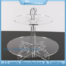 Wholesale Clear Perspex Cupcake Display Stand/ Acrylic Cupcake Dessert Stand 2 tier