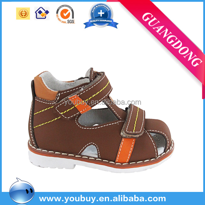 2016 fashion genuine leather brown little boy sandals ,handmade leather sandals