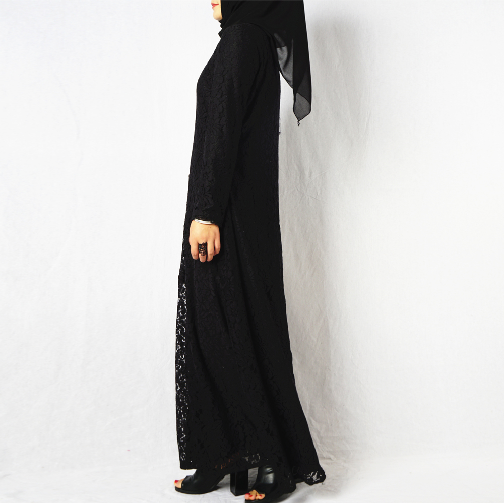 2018 New model dubai abaya embroidery wholesale islamic clothing black muslim dress lace full length with factory price
